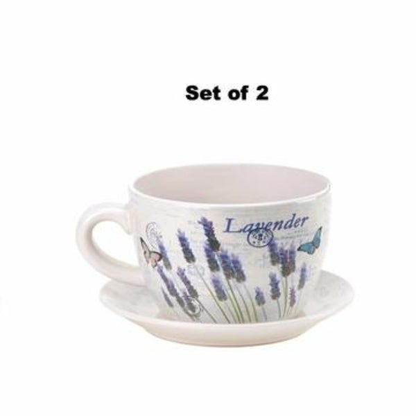 Set of 2 Lavender & Butterfly Theme Teacup & Saucer Planters