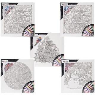 "Adult Coloring 12""X12"" Black & White Canvas Assortment"