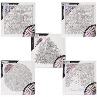 "Adult Coloring 12""X12"" Black & White Canvas Assortment