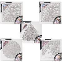 "Adult Coloring 12""X12"" Black & White Canvas Assortment"