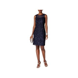 Jessica Howard Womens Cocktail Dress Crochet Lace Overlay