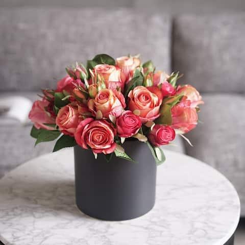 "Madmoiselle Silk Red Roses in Black Vase 13"" Tall - Orange"