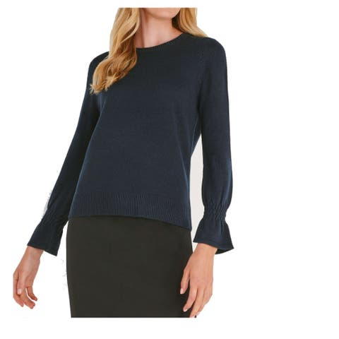 Joe Fresh Deep Blue Womens Size XS Crewneck Bell-Cuff Sweater