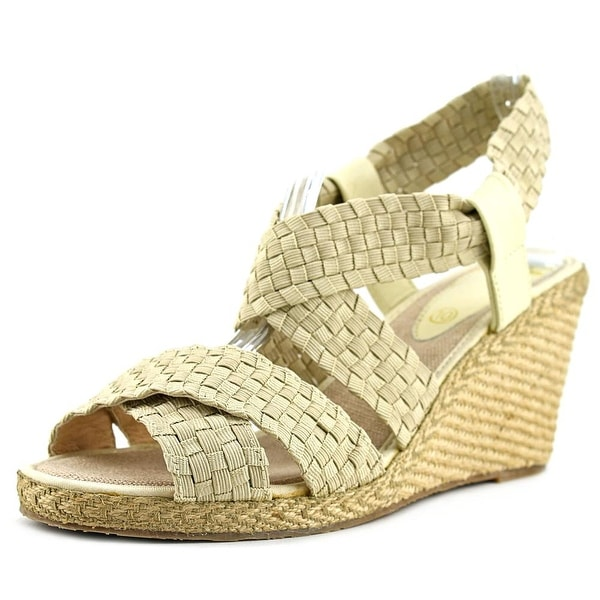 Andre Assous Dennie Women Open Toe Synthetic Tan Wedge Sandal