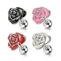 Rose Enamel Tragus/Cartilage Barbell 316L Surgical Steel (Sold Ind.)