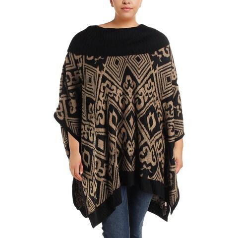 Rafaella Womens Plus Poncho Sweater Printed Rib Knit