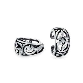 Bling Jewelry 925 Sterling Silver Floral Filigree Flower Pair Of Ear Cuffs
