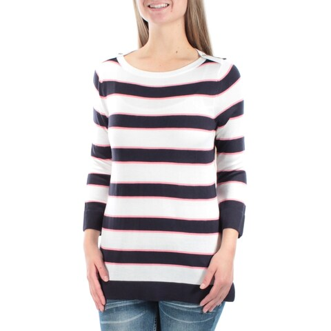 TOMMY HILFIGER $70 Womens 1222 White Crew Neck 3/4 Sleeve Casual Sweater XL B+B