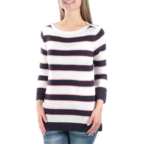 TOMMY HILFIGER Womens White Striped 3/4 Sleeve Crew Neck Sweater Size: XL