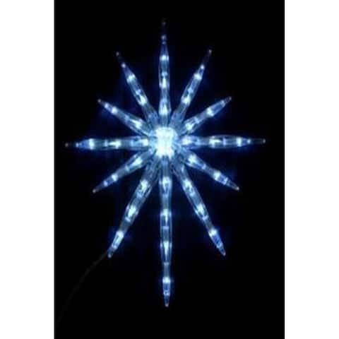 "17"" LED Lighted Cool White 12-Point Starburst Hanging Christmas Decoration"