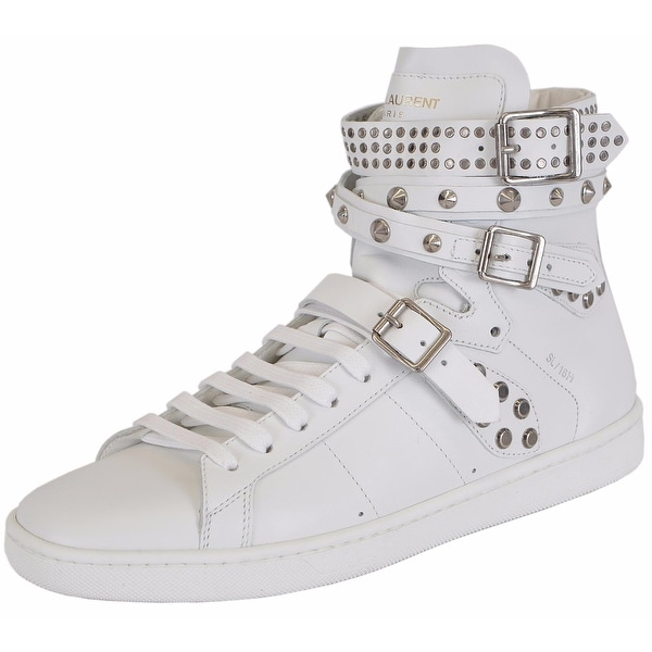 d54ffe19f7b2 Shop Yves Saint Laurent YSL Women s White Studded Court Classic Hi Top  Sneakers Shoes - Free Shipping Today - Overstock - 14535024