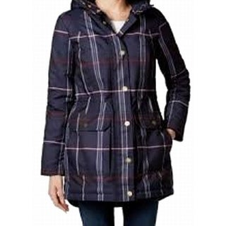 Tommy Hilfiger NEW Blue Plaid Women's Size Small S Faux-Fur Coat