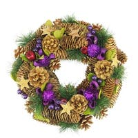 "13"" Decorative Brown and Purple Pine Cone and Berry Artificial Christmas Wreath - Unlit"