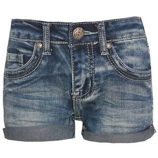 Girls Navy Light Wave 5 Pocket Rivet Folded Cuff Denim Shorts