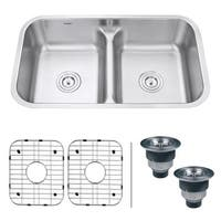 "Ruvati RVM4350 Parmi 32.25"" Undermount Double Basin 16 Gauge Stainless Steel Kitchen Sink w/ 2 Basin Racks & 2 Basket Strainers"