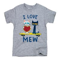 Pete The Cat I Love Mew-Youth Short Sleeve Tee
