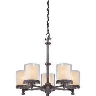 Nuvo Lighting 60/4545 Decker Five Light Chandelier with Clear and Cream Glass
