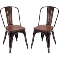 Costway Set of 2 Dining Side Chair Stackable Bistro Metal Wood Stool Copper