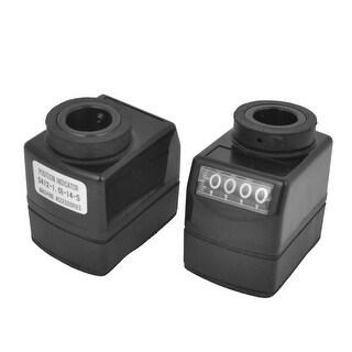2 Pcs Vertical Clockwise 0-9999 Range Digital Position Indicator Black for Lathe