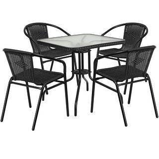 Skovde Square 28'' Glass Metal Table w/Black Rattan Edging and 4 Black Rattan Stack Chairs for Restaurant/Bar/Pub/Patio