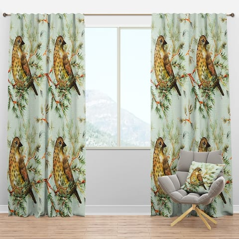 Designart 'Small Cute Bird on Pine Branch' Animals Blackout Curtain Panel