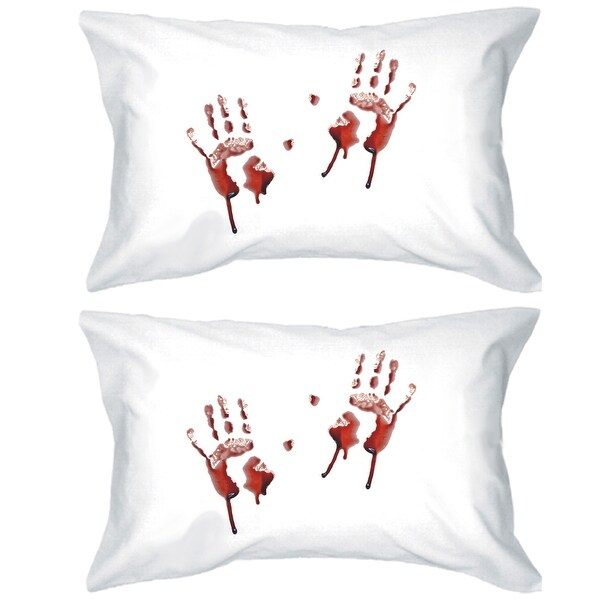 Handprints Blood Pillow Case Halloween Decorative Pillow Cover Set
