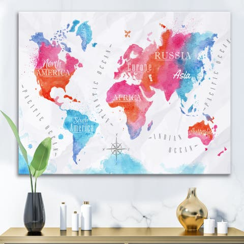 Designart 'World Map In Pink and Blue' Modern Canvas Wall Art Print