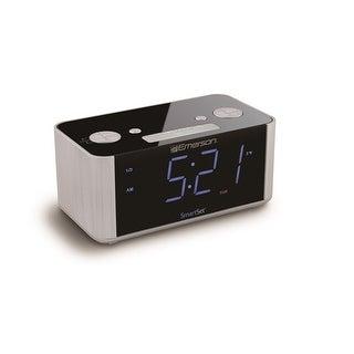 Emerson Radio Corp. Cks1708 Smartset Alarm Clock Radio With Usb Charger/Blue Led Display