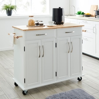 BELLEZE White Wood Portable Kitchen Cart Rolling and Island Storage with Handle - standard