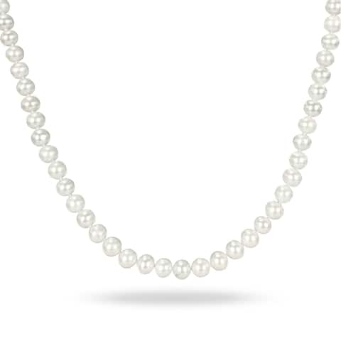 Miadora White Cultured Freshwater Pearl Necklace (6.5-7 mm)