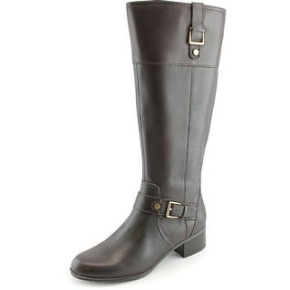 Bandolino Crannew Wide Caf Round Toe Leather Knee High Boot
