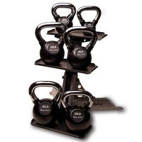 Body-Solid Chrome Handle, Rubberized Kettlebell Set 5-30lb Singles, with Rack - multi