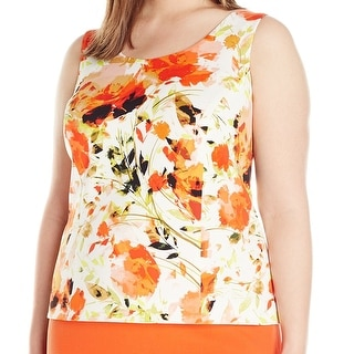 Kasper NEW Orange Valencia Women Size 20W Plus Scuba Floral Tank Blouse