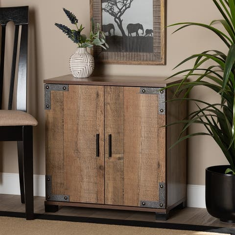 Cyrille Modern and Contemporary Farmhouse Rustic 2-Door Shoe Cabinet