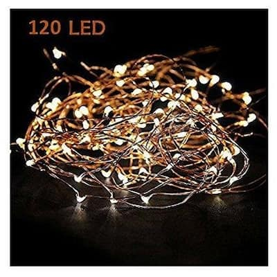 Starry String Lights Warm White Color LED's on a Flexible Copper Wire - Medium