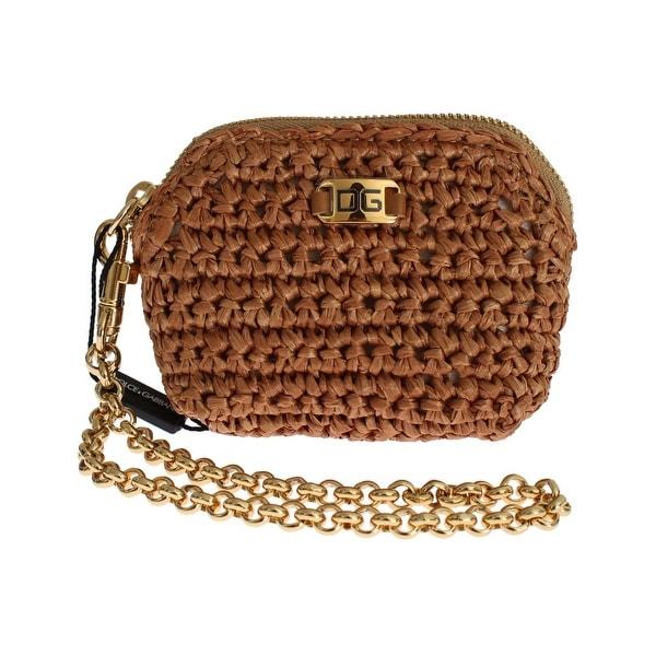 3fb5bc81dc Dolce  amp  Gabbana Beige Raffia Chain Wristlet Clutch Wallet Bag - One Size