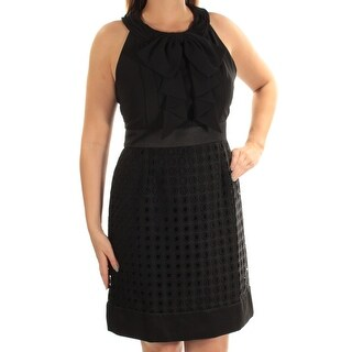 Womens Black Sleeveless Above The Knee Fit + Flare Evening Dress Size: 16