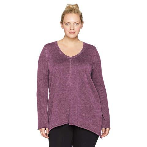 Calvin Klein Women's Plus Size Cotton V-Neck Top Merlot Size 3 Extra Large - Purple - 3-Large