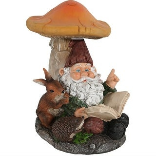 Sunnydaze Book Worm Bernard the Outdoor Garden Gnome with Mushroom and Solar Light, 16 Inch Tall, Perfect for Patio or Yard