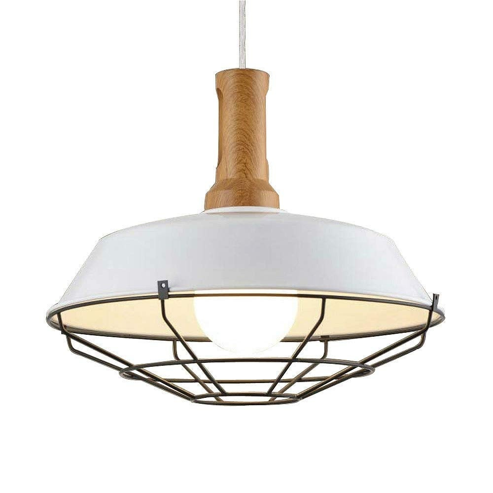 Wire Cage Pendant Lamp Wood Barn Warehouse White Light Fixture