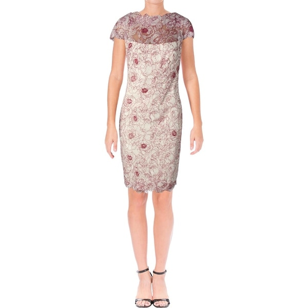 797b0f56d1b Shop Tadashi Shoji Womens Cocktail Dress Lace Overlay Cap Sleeves - Free  Shipping Today - Overstock - 23141080