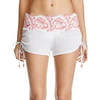 Isabella Rose Womens Bouquet Embroidered Floral Shorts Swim Cover-Up