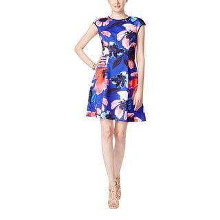 Vince Camuto Womens Casual Dress Scuba Floral Print
