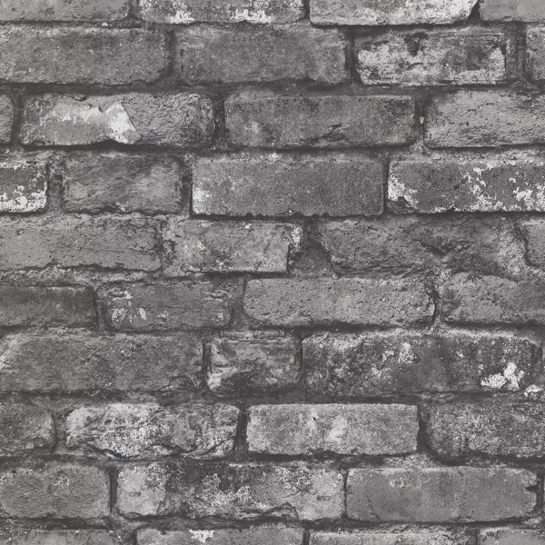 Brewster 2604-21260 Oxford 56 Square Foot Exposed Brick Imitating Wallpaper - One Roll - slate brick - N/A