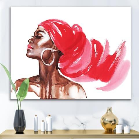 Designart 'Portrait of African American Woman IX' Modern Canvas Wall Art Print