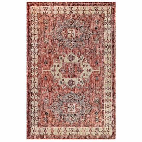 "Liora Manne Carmel Kilim Indoor/Outdoor Rug Black 4'10"" x 7'6"""