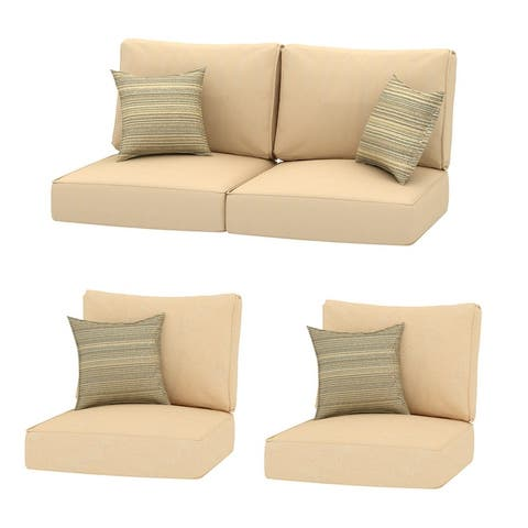 4PC Chat Outdoor 24x24 Replacement Cushions with Pillows - 4PC Chat