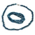 Freshwater Pearl Beaded Necklace and 3 Piece Stretch Bracelet Set - Thumbnail 2