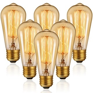 Link to Vintage Edison Bulbs, 60W ST64 Filament Bulbs, Antique Squirrel Cage Tungsten, Dimmable, 2200K Amber Light, E26 Base Similar Items in Light Bulbs