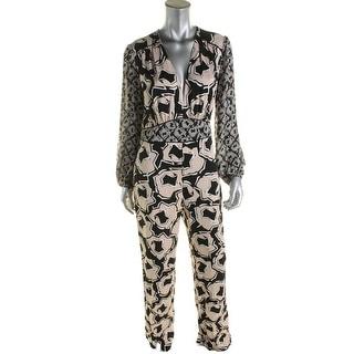 Diane Von Furstenberg Womens Viona Jumpsuit Silk Printed